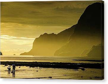Young Boys Fishing At Sunset In The Bay Canvas Print by Michael Runkel