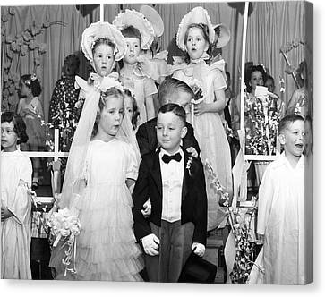 Young Children Stage Wedding Canvas Print by Underwood Archives