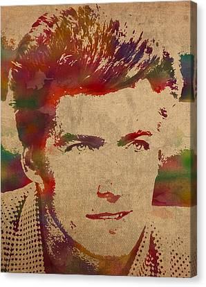 Young Clint Eastwood Actor Watercolor Portrait On Worn Parchment Canvas Print