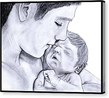 Young Father Canvas Print by Saki Art