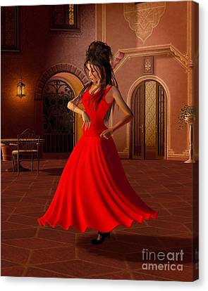 Young Flamenco Dancer Canvas Print by Fairy Fantasies
