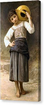 Young Girl Going To The Fountain Canvas Print by William Bouguereau