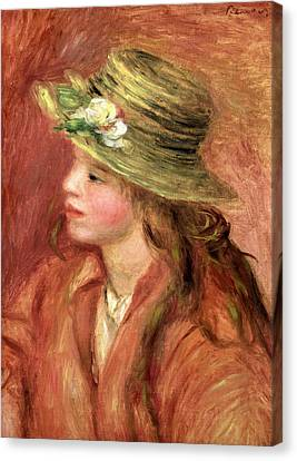 Young Girl In A Straw Hat Canvas Print by Pierre Auguste Renoir