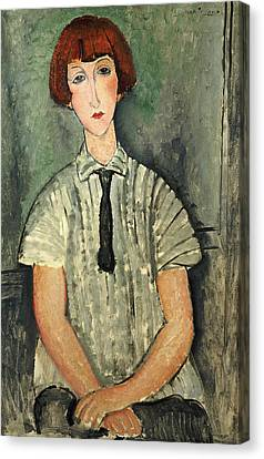 Young Girl In A Striped Shirt, 1917 Canvas Print by Amedeo Modigliani
