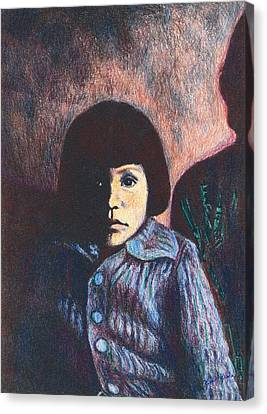 Young Girl In Blue Sweater Canvas Print by Kendall Kessler