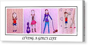 Young Girl - Living A Girl's Life - Child's Drawing - Children's Art Canvas Print