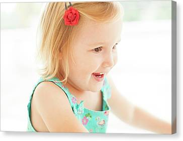 Young Girl Smiling Canvas Print
