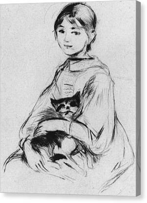 Youth Canvas Print - Young Girl With Cat by Berthe Morisot