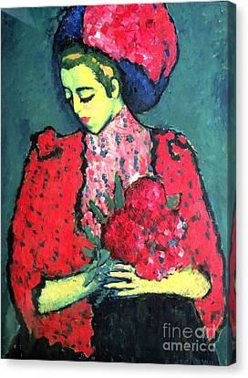 Russian-style Canvas Print - Young Girl With Peonies by Pg Reproductions