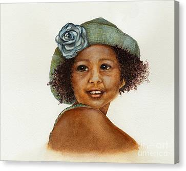 Young Girl With Straw Hat Canvas Print