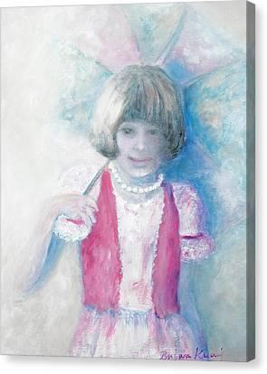 Young Girl With Umbrella Canvas Print by Barbara Anna Knauf