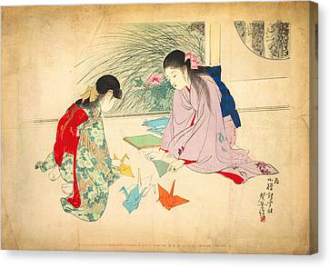 Newy Ork Canvas Print - Young Girls Making Paper Cranes by Celestial Images