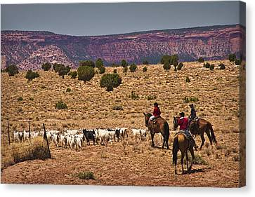 Young Goat Herders Canvas Print by Priscilla Burgers