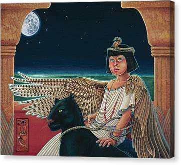 Young Isis Protects The Night Canvas Print by Susan Helen Strok