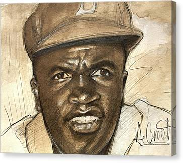 Young Jackie Robinson Canvas Print by Gregory DeGroat