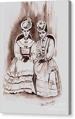 Young Ladies Of A Bygone Age Canvas Print by Val Stokes