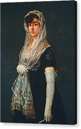Young Lady Wearing A Mantilla And Basquina Canvas Print by Francisco Goya