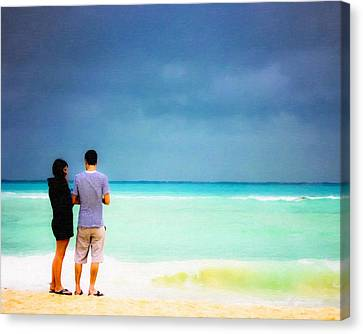 Young Love And The Stormy Sea Canvas Print by Mark E Tisdale