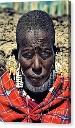 Portrait Of Young Maasai Woman At Ngorongoro Conservation Tanzania Canvas Print