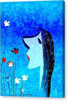 Young Maiden Canvas Print by Asok Mukhopadhyay