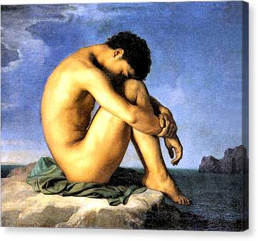 Young Man By The Sea Canvas Print by Hippolyte Flandrin