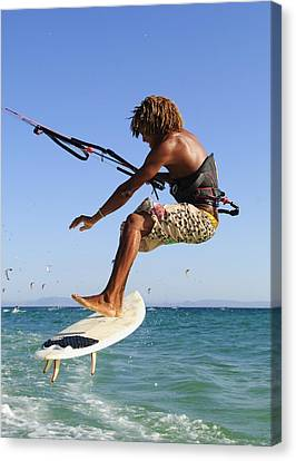 Young Man Kite Surfing Costa De La Canvas Print by Ben Welsh