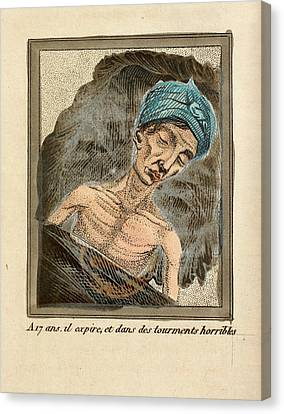 Young Man On His Death Bed Canvas Print by British Library