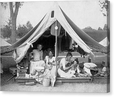 Young Men On A Camp Out Canvas Print by Pach Bros.