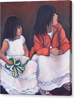 Young Mexican Girls At The Independence Parade  Canvas Print