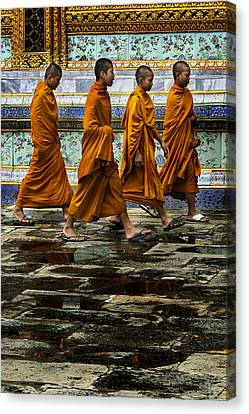 Canvas Print featuring the photograph Young Monks by Rob Tullis