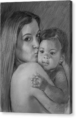 Canvas Print featuring the drawing Young Mother With Her Baby by Viola El
