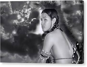 Young Native American Bw  Canvas Print