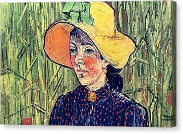 Hat Canvas Print - Young Peasant Girl In A Straw Hat Sitting In Front Of A Wheatfield by Vincent van Gogh