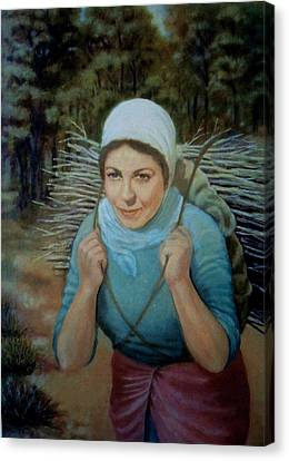 Canvas Print featuring the painting Young Farmer by Laila Awad Jamaleldin