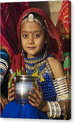 Young Rajathani At Mewar Festival - Udaipur India Canvas Print by Craig Lovell