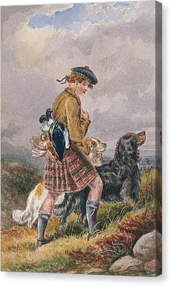 Young Scottish Gamekeeper With Dead Game Canvas Print