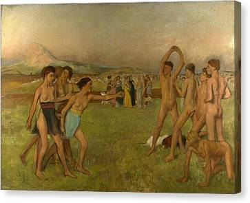 Young Spartans Exercising Canvas Print