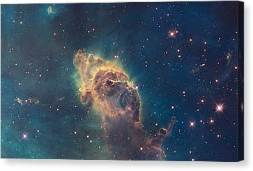 Young Stars Flaring In The Carina Nebula Canvas Print by Celestial Images