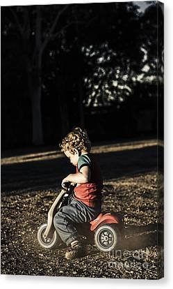 Tricycle Canvas Print - Young Three Year Old Child Riding On Toy Bicycle by Jorgo Photography - Wall Art Gallery