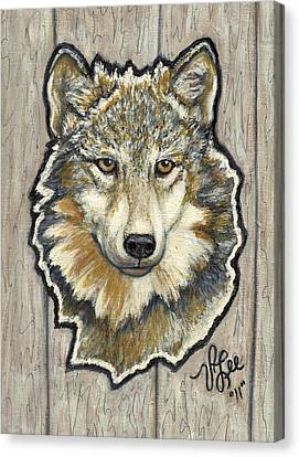 Canvas Print featuring the painting Young Wolf by VLee Watson