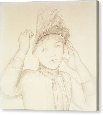 Young Woman Arranging Her Hat Canvas Print