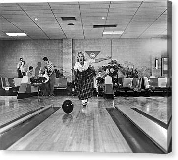 Young Woman Bowling Canvas Print by Underwood Archives