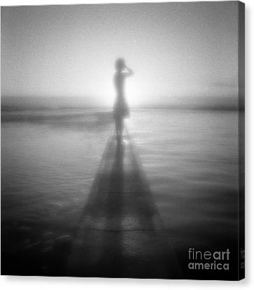 Young Woman By Pool At Sunrise Canvas Print by Colin and Linda McKie