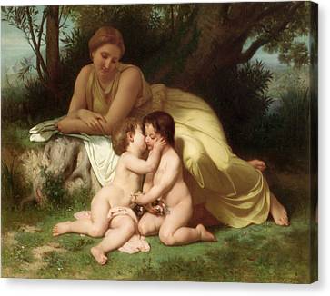 Young Woman Contemplating Two Embracing Children Canvas Print by William Bouguereau