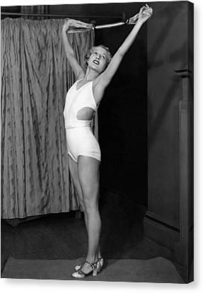 Healthy-lifestyle Canvas Print - Young Woman Exercising by Underwood Archives