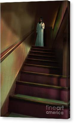 Young Woman In Nightgown On Stairs Canvas Print by Jill Battaglia