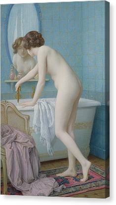 Young Woman Preparing Her Bath  Canvas Print by Jules Scalbert