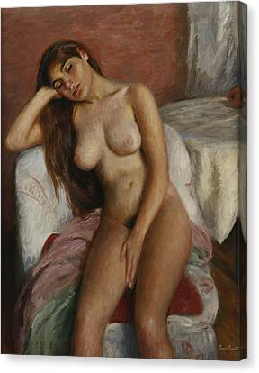 Young Woman Relaxing Canvas Print by Ramon Pichot Girones