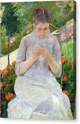 Young Woman Sewing In The Garden Canvas Print