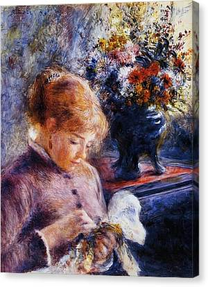 Young Woman Sewing Canvas Print